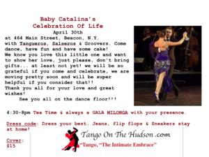Baby Catalina's Celebration Of Life Tango Party- Beacon , N.Y. 4/30/17